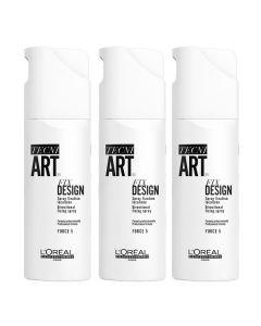 Loreal Tecni.art Fix Design Hairspray, 200 ml (3 pak.)